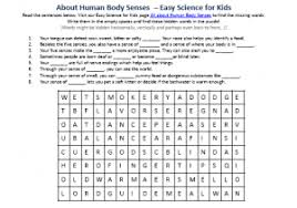 human body senses free science comprehension worksheet