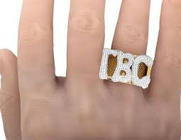 gold monogram ring 10k yellow gold diamond custom personalized 3 letter initial