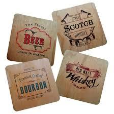 vintage style wood veneer coasters for bar or men u0027s gift set of