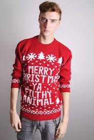 unisex merry christmas ya filthy animal christmas slogan jumper