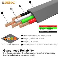 bastec zinc alloy flat micro usb cable ultra durable data