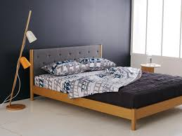 bedroom minimalist low profile queen size bed frame on wooden