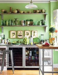 kitchens with shelves green green kitchen walls worldstem co