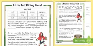 red riding hood primary resources traditional 2