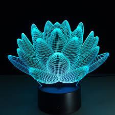 lotus flower 3d usb led night light colors changing christmas