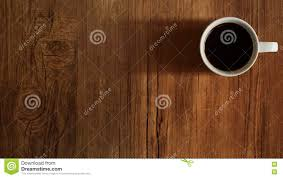 Wooden Table Top View Coffee Cup Top View On Wooden Table Background Stock Photo Image