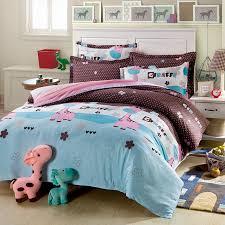 Giraffe Bed Set Light Blue Cotton Bedding Set With Giraffe Motif Ebeddingsets