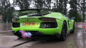 Green Lamborghini Aventador - lamborghini aventador with akrapovic exhaust breathes fire