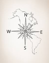 Maps Of South America Nautical Map Of North U0026 South America W Compass Vinyl Wall Decal 601