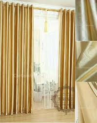 Gold Thermal Curtains Colored Leaf Patterns Living Room Discount Insulated Curtains