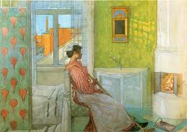 in front of the watercolour by carl larsson 1853 1919 sweden