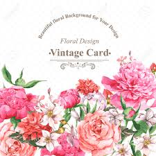 vintage watercolor greeting card with blooming flowers roses