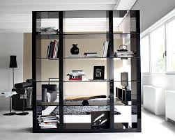 large room dividers tall and large black wood book shelf room divider with black glass