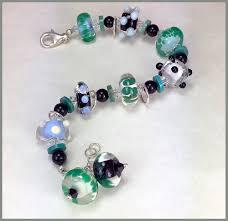 turquoise beads bracelet images Lampwork glass bead bracelet in black white green blue jpg