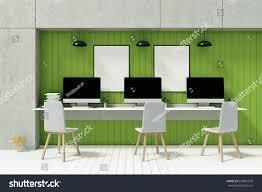 Computer Desk Built In 3d Rendering Illustration Blank Pc Computer Stock Illustration