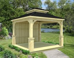 14x14 Outdoor Gazebo by Treated Pine Double Roof Ramadas Ramadas By Material