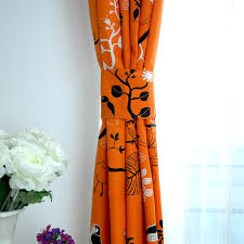 Orange Curtains For Living Room Curtains For The Living Room Orange Base With Black Birds Print