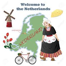 The Netherlands Map Vector Set With Map And Symbols Of The Netherlands Royalty Free