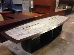 Tuohy Custom Made Boat Shape 12 Foot Granite Inlay Dark Cherry