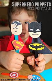 superhero puppet craft superman spiderman och captain america