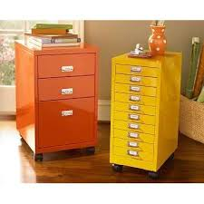 Yellow Metal Filing Cabinet Yellow And Orange Painted File Cabinets Home Office Organization
