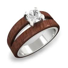 wood engagement rings split wood engagement ring with moissanite in white gold wood