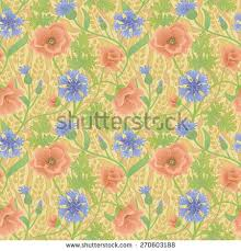 Wallpaper With Flowers Vector Seamless Roses Floral Handdrawn Pattern Stock Vector