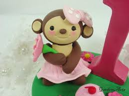 monkey cake topper customise lovely monkey girl caketopper with grass base for kids