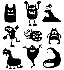 monsters halloween silhouettes of cute doodle monsters bacteria royalty free cliparts