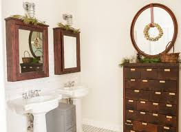 lighted medicine cabinet bathroom rustic with beige wall christmas