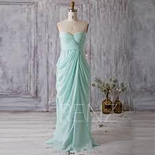 Long Draped Dress 2016 Mint Blue Bridesmaid Dress Long Draped Wedding Dress