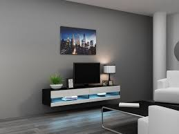 Glass Tv Cabinets With Doors by Wall Mounted Tv Stand With Storage Cabinrt Made Of Wooden In Black