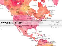 Colombia World Map by Instant Digital Download World Map In Orange And Pink Watercolor