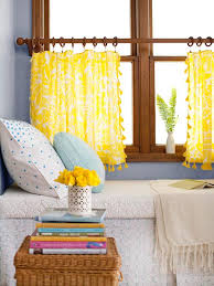 Half Window Curtains Interior Mesmerizing Yellow Half Window Curtains Decorated In