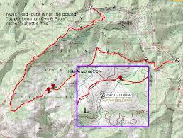 mt lemmon hiking trails map lemmon pools hiking arizona hikearizona com