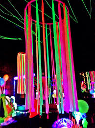 Disco Party Centerpieces Ideas by Neon Flagging Tape On Hulla Hoop Glow Party Decoration Fnid More