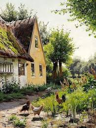 Backyard Oil Summer Day Outside A Farmhouse Signed And Dated P Mønsted