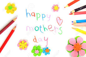 happy mothers day card made by a child stock photo picture and