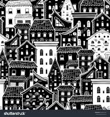 seamless pattern houses doodle house vector stock vector 444455125