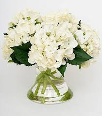 white silk hydrangea arrangement scenario home