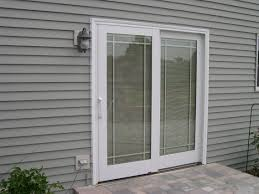 Glass Patio Doors Exterior by Charming Pella Sliding Glass Doors With Blinds Inside At Wooden