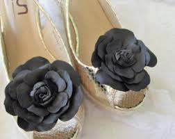 black bow shoe leather bow shoe set of two
