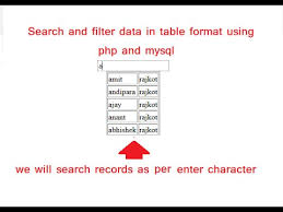 Html Table Formatting Search And Filter Data In Html Table Using Php And Mysql Youtube