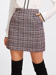 tweed skirt zip back tweed skirt shein sheinside