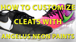 how to customize cleats angelus neon paint youtube