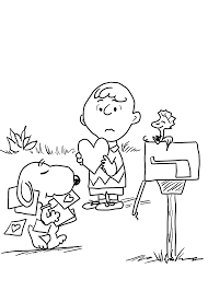 snoopy valentine coloring pages