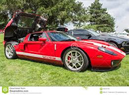 Black Mustang Red Stripes Red Ford Gt Side Editorial Stock Image Image 58135159