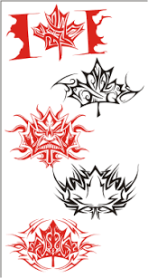 canadian maple leaf flames and tattoos vector images on cd or by