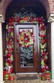 deco mesh garland around front door wreaths deco