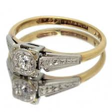 vintage art deco cushion shaped old cut diamond ring